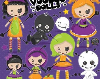 80% OFF SALE Halloween clipart commercial use, voodoo doll clipart vector graphics, dolls digital clip art, voodoo dolls - CL1102