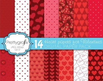 80% OFF SALE 14 valentine heart digital paper, commercial use, scrapbook papers, background - PS589