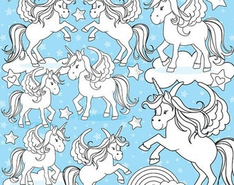 80% OFF SALE Unicorn digital stamp commercial use, vector graphics, digital stamp  - DS775