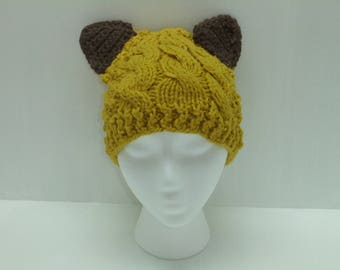 Mustard Yellow Knit Hat with Brown Ears