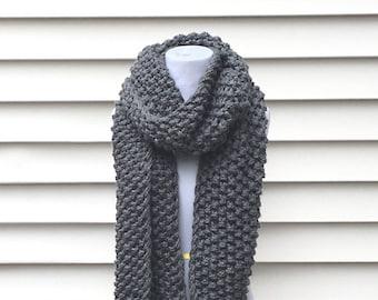 MILTON SCARF long gray scarf, chunky gray scarf, long chunky scarf