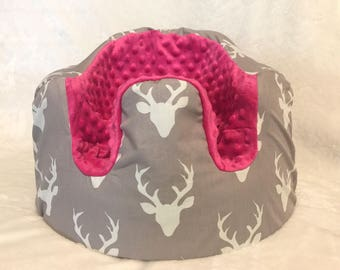 Grey and White Buck and Pink Minky Bumbo Cover