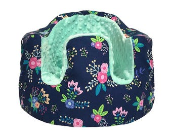 Navy Floral and Mint Minky Bumbo Seat Cover