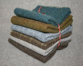 "Six Pack of 8"" x 8"" Squares of 100% Wool Fabric"