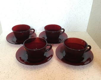 Anchor Hocking Royal Ruby Cups and Saucers - Set of 4