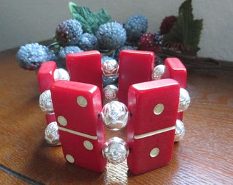 Vintage Red Catalin Domino Bracelet with flowered silver  metal  beads  - Awesome find!  = Estate find!