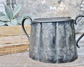 Antique Silver Sugar Bowl Loving Cup Handle Sugar Jar Vintage Canister Farmhouse Decor Fixer Upper Decor Ornate Etched Victorian French