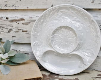 Antique Divided Plate FRENCH White Ironstone Appetizer Dip Tray Farmhouse Decor French Country Chic