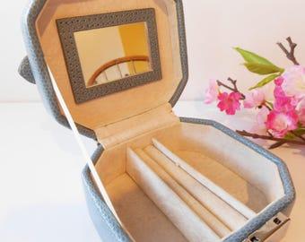 Jewelry Box, Blue Jewelry Box, Jewelry Case, Vintage Jewel Case, Travel Accessory, Jewelry Storage, Organization