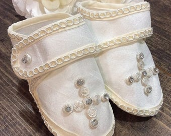 10%off sale Baby boy baptism shoes ivory (Ethan)