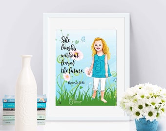 She Laughs without Fear of the Future, Proverbs. Christian Inspirational Art Print of blonde barefoot Girl. Printed from whimsical drawing.