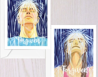 Forgiven, Set of 2 Inspirational Greeting Cards of Adult Man and Woman in Rain. Christian Baptism for couple. Designed from paintings.