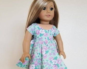 Party Dress for American Girl by The Glam Doll Green and Purple Floral