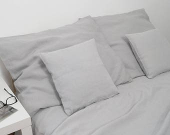 Linen bedding( 100%  Linen ),  Light grey bedding, gray linen, prewashed linen
