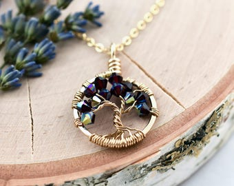 Golden Anniversary Necklace Gift for Wife, Birthstone Tree Necklace in Gold, January Birthstone, Pantone Tawny Port