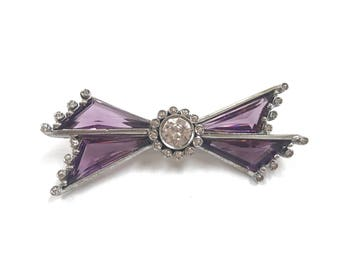 Vintage Sterling Silver  Bow Pin/Brooch With Purple Amethyst And Cubic Zirconia!!!!  Free US Shipping!!!