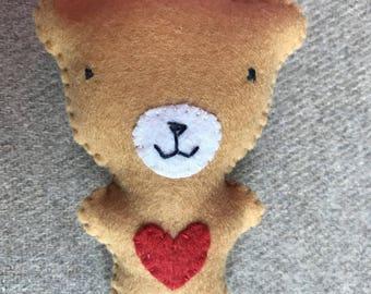 BEIGE TEDDY BEAR BROOCH