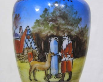 Vintage Christmas Holiday Vase Santa Reindeer North Pole NY Souvenir
