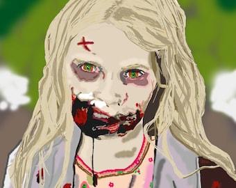 Summer The Walking Dead Zombie Girl Digital Artwork Portrait A4 Print