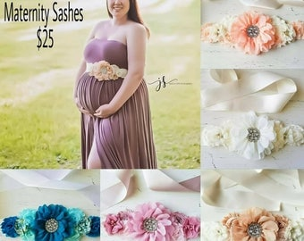 Ivory  , dusty rose, tan , teal Maternity Sash, Ivory sash photography prop Maternity belt, Pregnancy sash, Flower sash, Couture flower sash