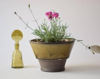 Kähler Denmark - flower pot / bowl - amber & brown - HAK - Danish mid century pottery - collectible