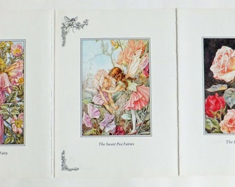 Three Large Cicely Mary Barker Prints, Pink Flower Fairies Pictures, Wild Rose Fairy, Sweet Pea Fairy, Nursery picture