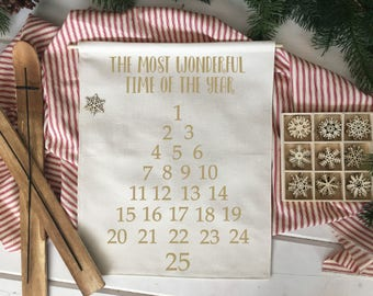 The Most Wonderful Time Advent Calendar Countdown/ Christmas wall decor/ christmas decoration/ wall hanging/ farmhouse christmas tree