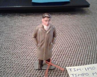 Timpo Railway Passenger Man in Overcoat Lead Figure