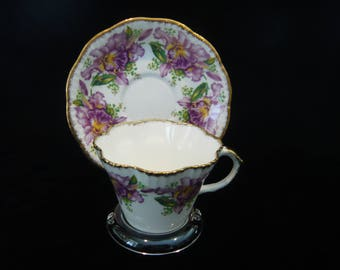 """Vintage Salisbury """"GARLAND"""" Orchids Cup and Saucer Made in England Bone China"""