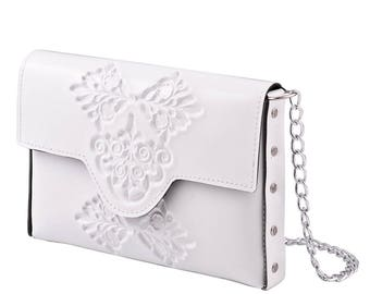 White evening clutch bag / small womans clutch bag / evening purse / wedding day clutch bag / classic white clutch with metal chain strap