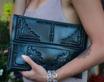 Envelope clutch / evening clutch bag / black envelope clutch / vegan envelope clutch / oversized envelope clutch / standout black vinyl