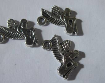 3 charms of fairies in silver metal 18mm tall (1916)