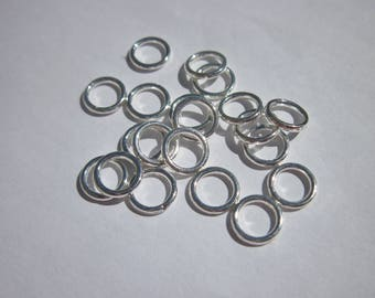 20 rings soldered in silver shiny 8 mm (25)