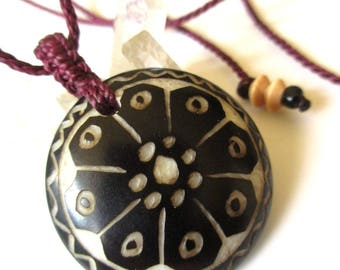 "Handcarved Tagua Nut or ""Vegetable Ivory"" Tribal Precolombian/Ethnic Totem Pendant with Wood Beads Details"