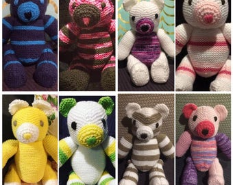 Knitted Teddy Bear - FREE SHIPPING