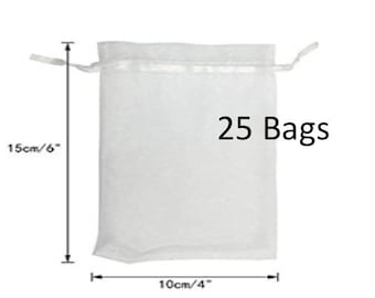 White Organza Bags 4 x 6, Unique Wedding Favors, Jewelry Pouch, Set Of 25