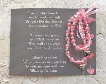 First Day Of School Mother and Daughter Bracelets