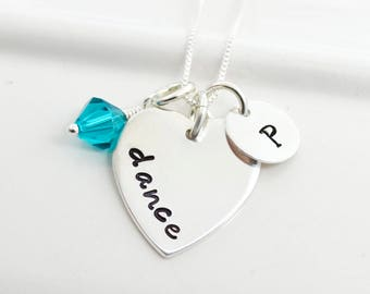 Hand Stamped Dance Necklace with Initial and Birthstone | Dancer Necklace