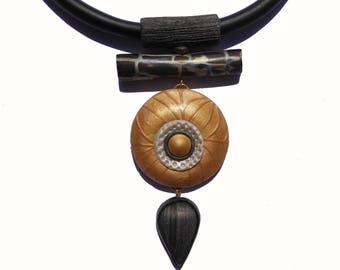 Unique beautiful torque necklace . Polymer clay gift for women ethnique  tribal