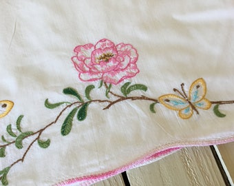 Vintage Pillowcase Size Standard Stitched Pink Flower Yellow Butterflies Bedding Linen Shabby Chic Pillow Cover by picadillymarket