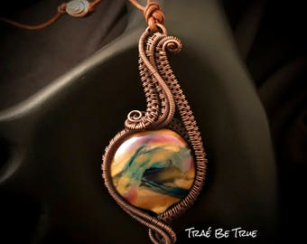 Copper Wire Weave With Handmade lampwork bead