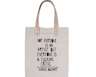 Tote Bag With leather straps - Screenprint Over Cotton Canvas Tote Bag Marcel Duchamp