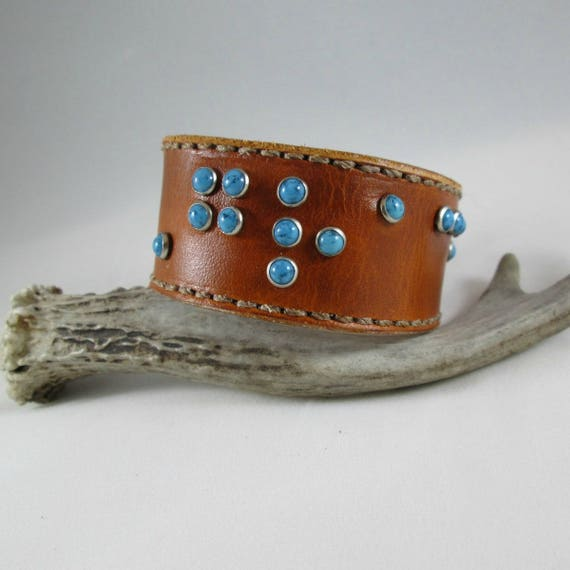 Leather Braille Cuff, Leather Cuff, Leather Bracelet