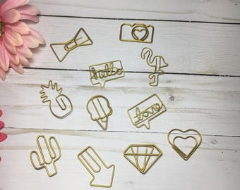Planner Paper Clips | Ice Cream | Arrow | Coffee | Diamond | Camera | Heart |