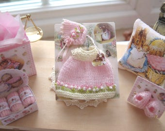 dollhouse baby  dolls dress and bonnet knitted 12th scale for baby doll
