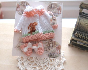 dollhouse baby doll knitted coat and mittens beatrix potter inspired squirrel nutkin petit point 12th scale miniature