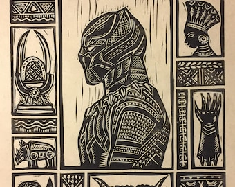 Black Panther Block Print