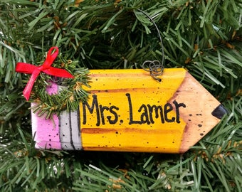 Personalized Teacher Pencil Ornament