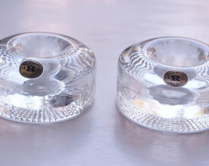 Swedish Art Glass Reijmyre Candle Holders Mid Century Modern