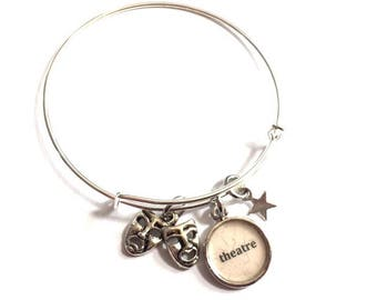 Theater Comedy Tragedy Adjustable Bangle Bracelet Silver Drama Charm Recycled Paper Repurposed Upcycled Materials Expandable Jewelry OOAK